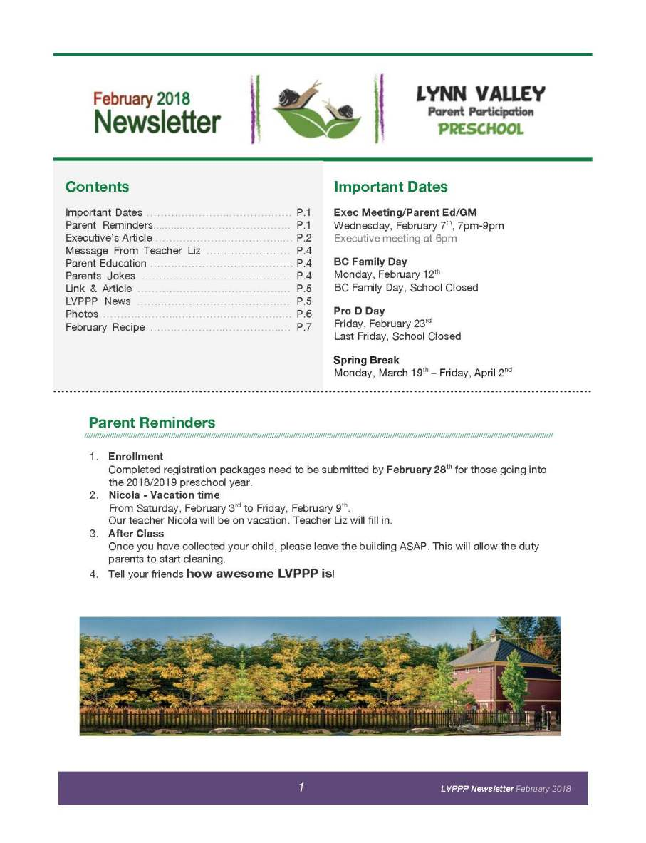 Newsletter Feb 2018