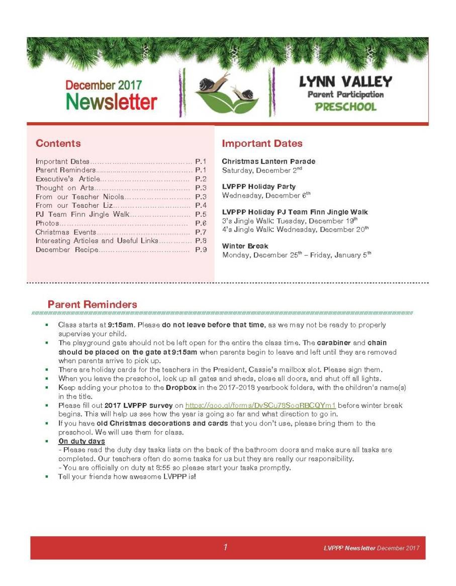 Newsletter Dec 2017